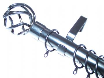28mm Matt Black Curtain Pole System with Cage Ball Finials 1.2m 1.5m 2.4m 3m